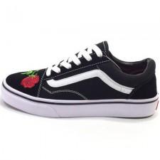Vans Low Old Skool Black/Red Flowers