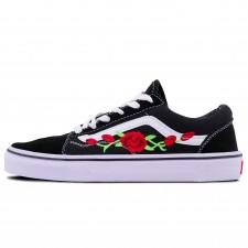 Vans Low Old Skool Black/White/Red Flowers